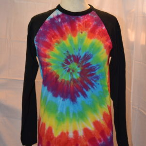 long sleeve handmade tie dye baseball shirt
