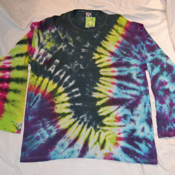 black tornado hand made long sleeve tie dye shirt
