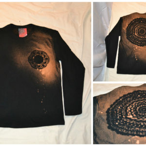 Long sleeve discharge dye mandala mens shirt