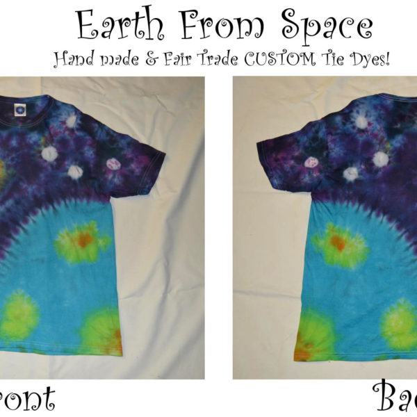 handmade earth from space short sleeved tie dye t shirt
