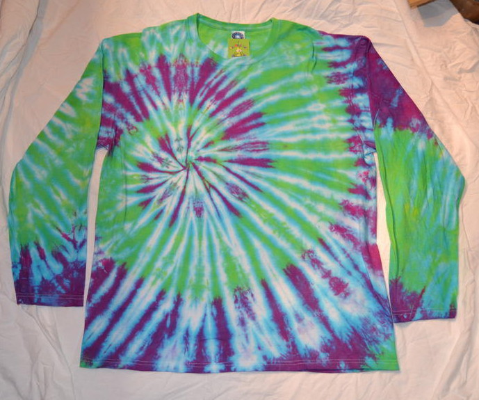 long sleeve handmade tie dye green purple