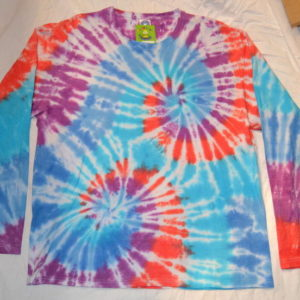 Orange Blue Tie Dye Long Sleeve handmade T shirt spiral