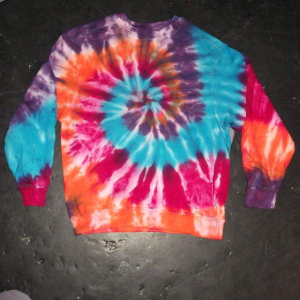 blue pink orange sweatshirt tie dye