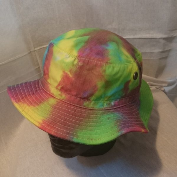 Handmade Tie Dye wide brim bucket fishing Hat Rainbow