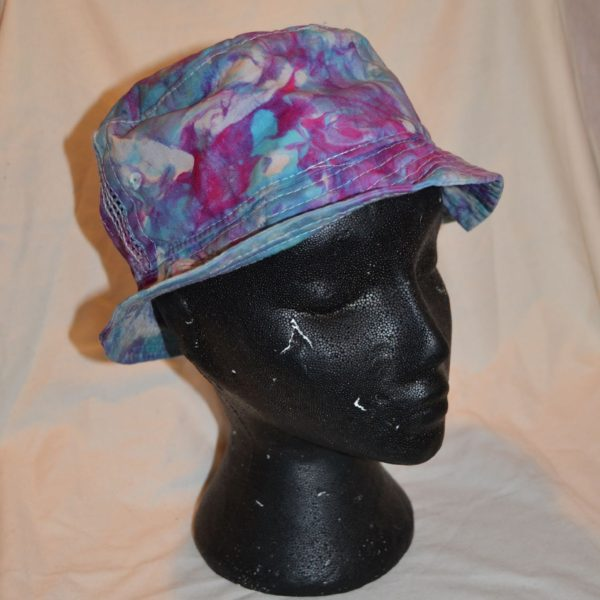 marbled tie dye bucket hat blue pink