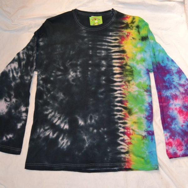 black rainbow tie dye long sleeve top