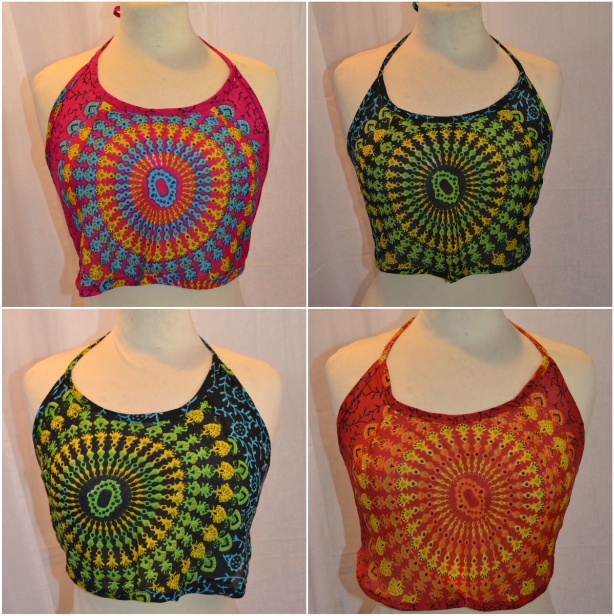 ladies mandala backless crop top mixed colours