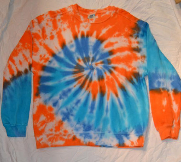 orange blue spiral tie dye sweatshirt