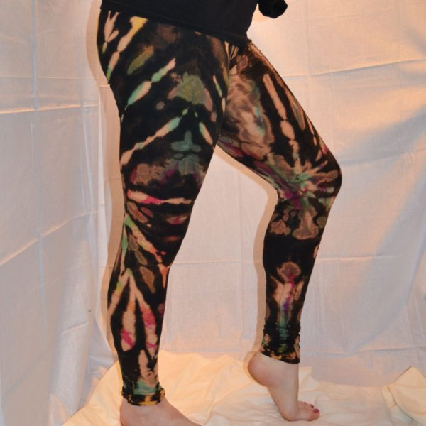Rainbow effect discharge dye leggings