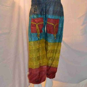 Om Print High Crotch Cotton Harem Trousers