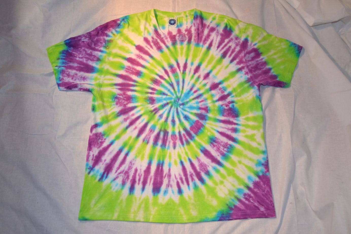 purple green centre spiral tie dye t shirt