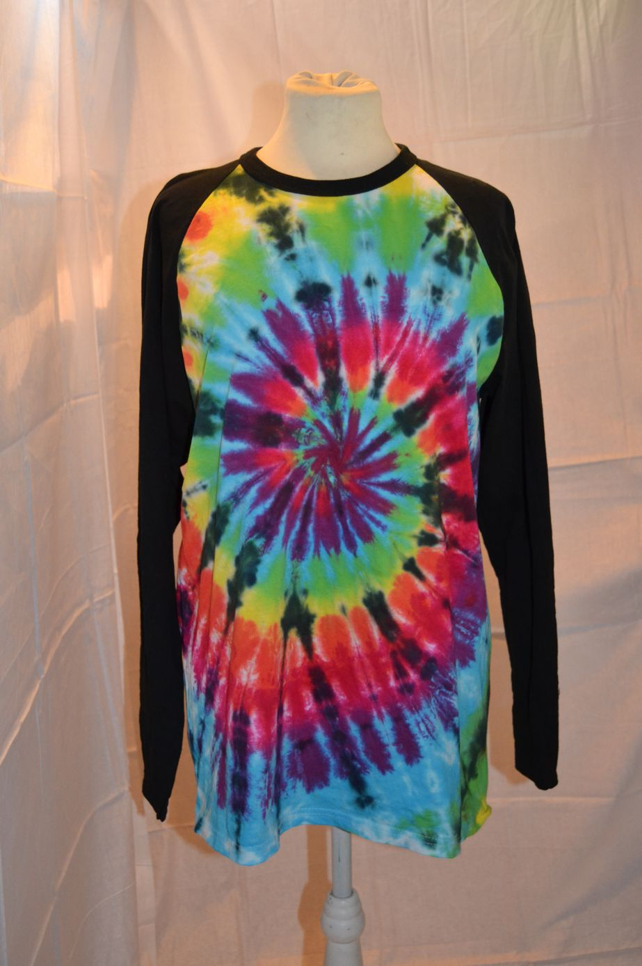 Handmade Black Rainbow Tie Dye Baseball Long Sleeve T shirt front