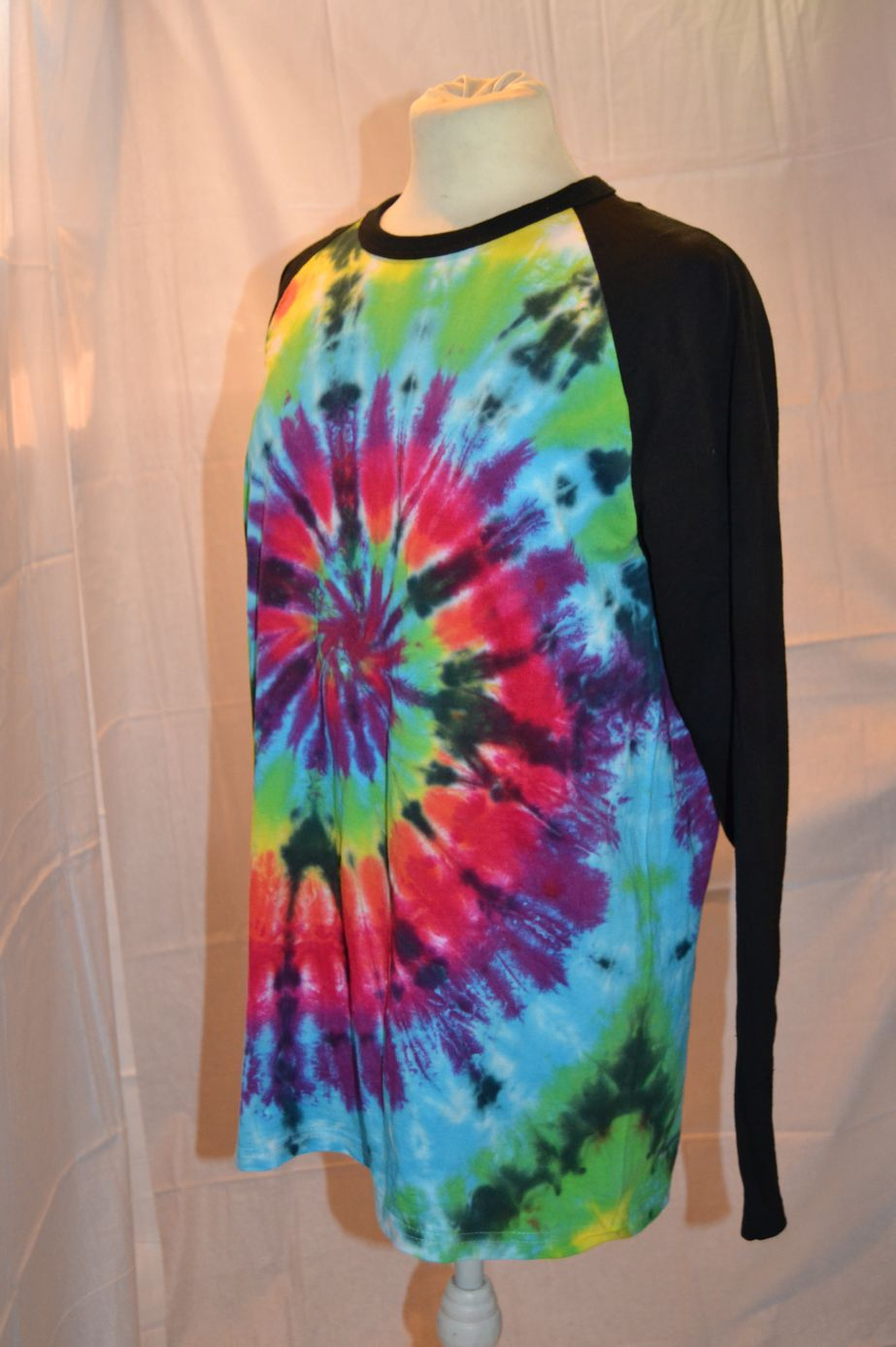 Handmade Black Rainbow Tie Dye Baseball Long Sleeve T shirt side