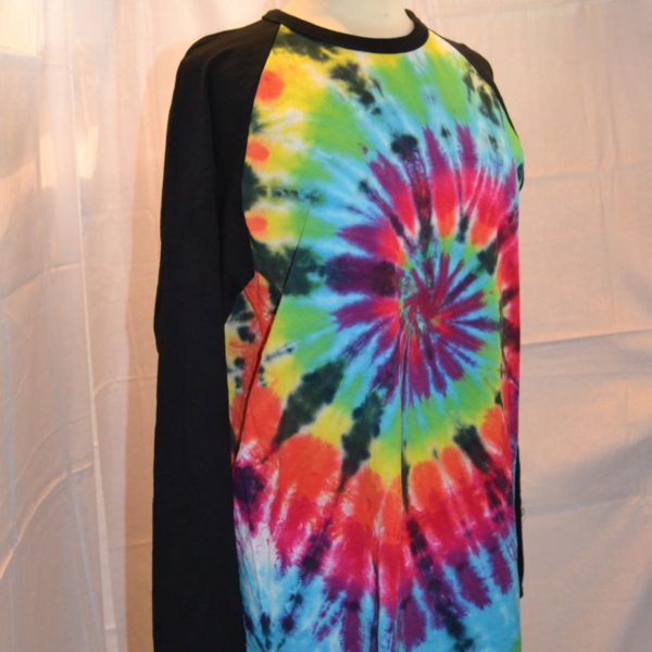 Handmade Black Rainbow Tie Dye Baseball Long Sleeve T shirt