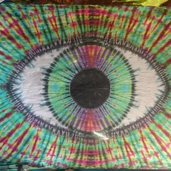 handmade eyeball tie dye tapestry wall hanging