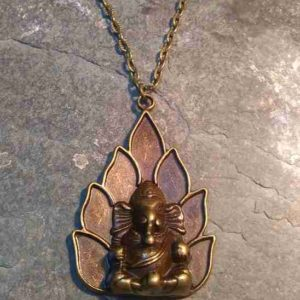 Mandala Lotus Ganesh antique bronze long chain necklace