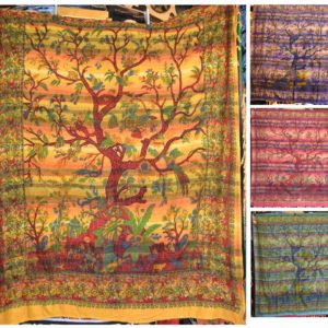 Indian tree of life wall hanging tapestry mixed colours