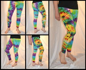 Tie Dye Psychedelic Handmade Leggings multicolour rainbow collage