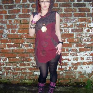 Maroon Psy Pixie asymmetrical mini hooded dress
