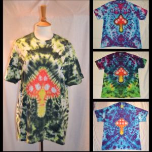 collage Magic Mushroom Tie Dye T shirt