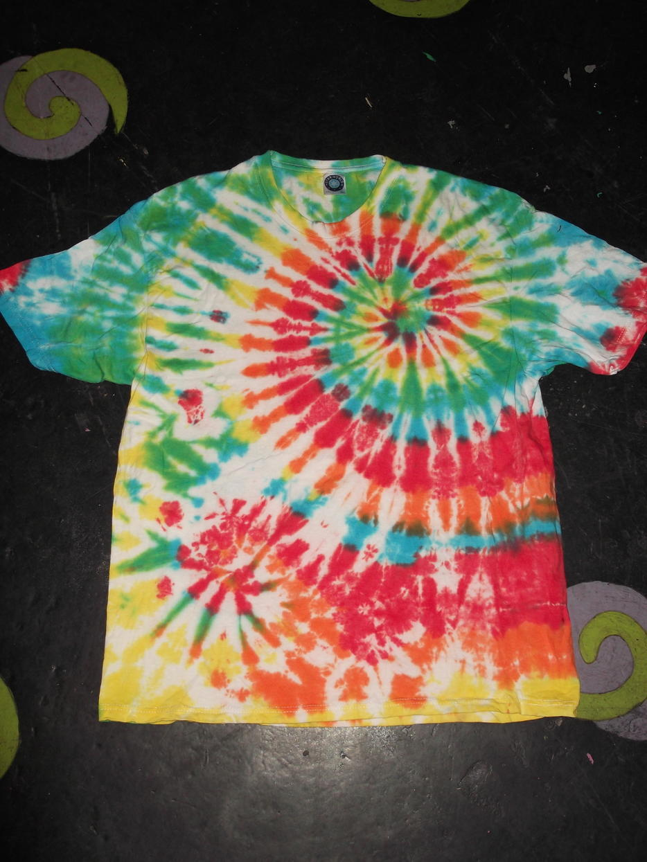 double spiral rainbow short sleeve mens tie dye t shirt
