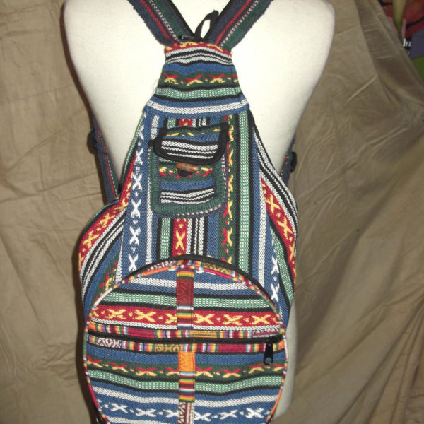 Nepalese multi colour zip up gheri backpack large