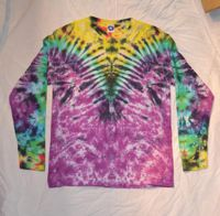 V pleat Tie Dye Multi Colour Long Sleeve T shirt