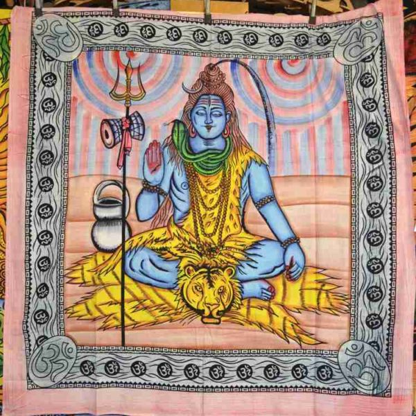 Shiva Painted Indian Tapestry Wall Hanging